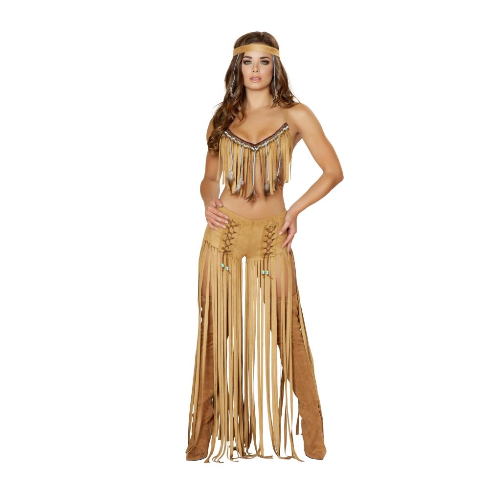 インディアン アメリカン 茶色 衣装、コスチューム 女性大人用 3pc Cherokee Hottie