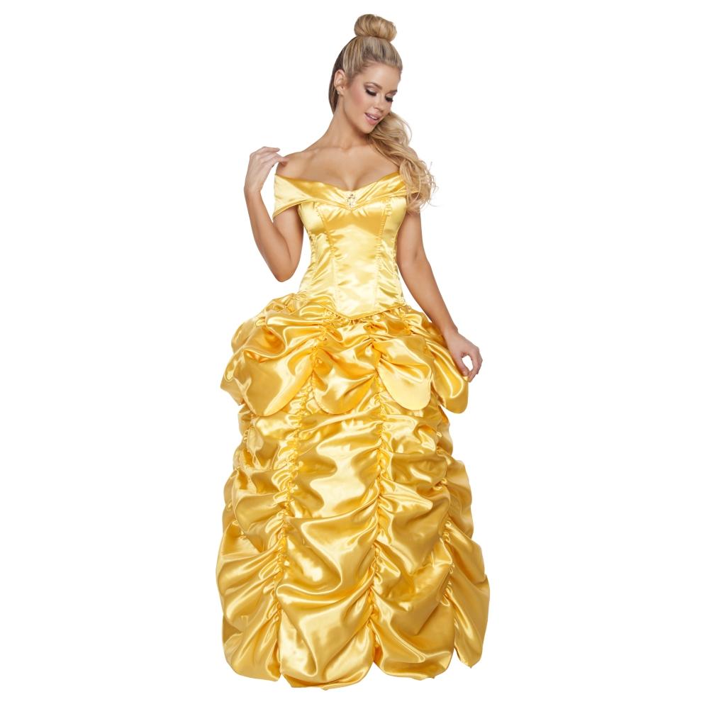 プリンセス 姫 黄色 衣装、コスチューム 女性大人用 2pc Beautiful Fairytale Maiden