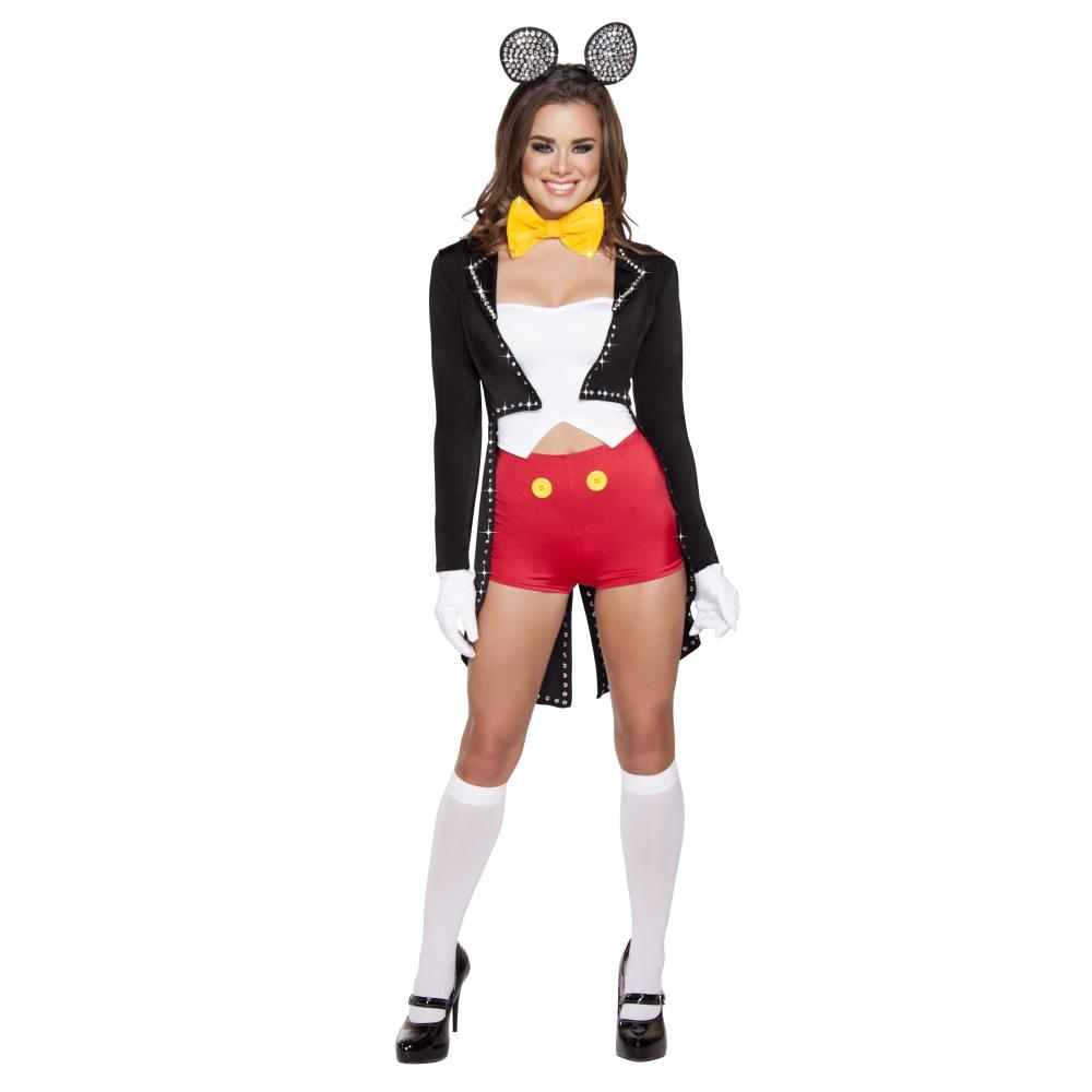 ねずみ 動物 映画 テレビ ゲーム 黒、白 衣装、コスチューム 女性大人用 5pc Mousy Maiden