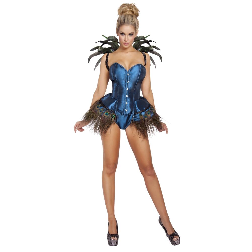 クジャク 孔雀 鳥 動物 ショーガール ターコイズ 衣装、コスチューム 女性大人用 2pc Peacock Diva コスプレ