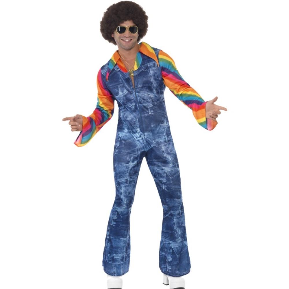 ディスコ ダンサー 青 衣装、コスチューム デニム 大人男性用 Groovier Dancer