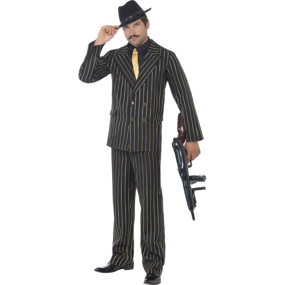 ギャング 黒 ゴールド 衣装、コスチューム 大人男性用 Gold Pinstripe Gangster コスプレ