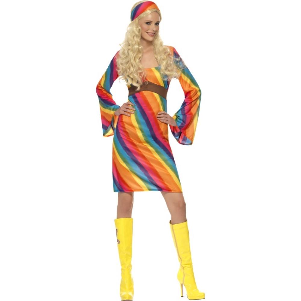 ヒッピー レインボー 衣装、コスチューム ディスコ 大人女性用 Rainbow Hippie コスプレ
