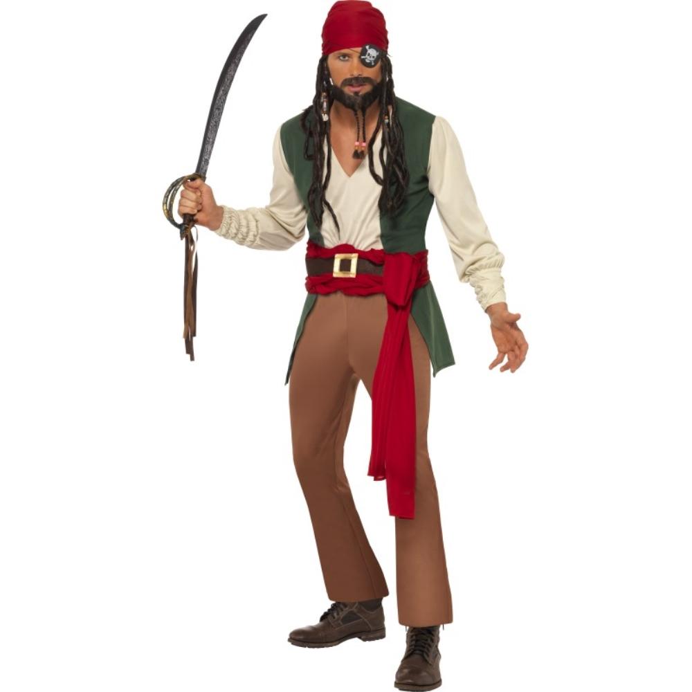 海賊 カリブ海 緑 衣装、コスチューム 大人男性用 Caribbean Drunken Pirate