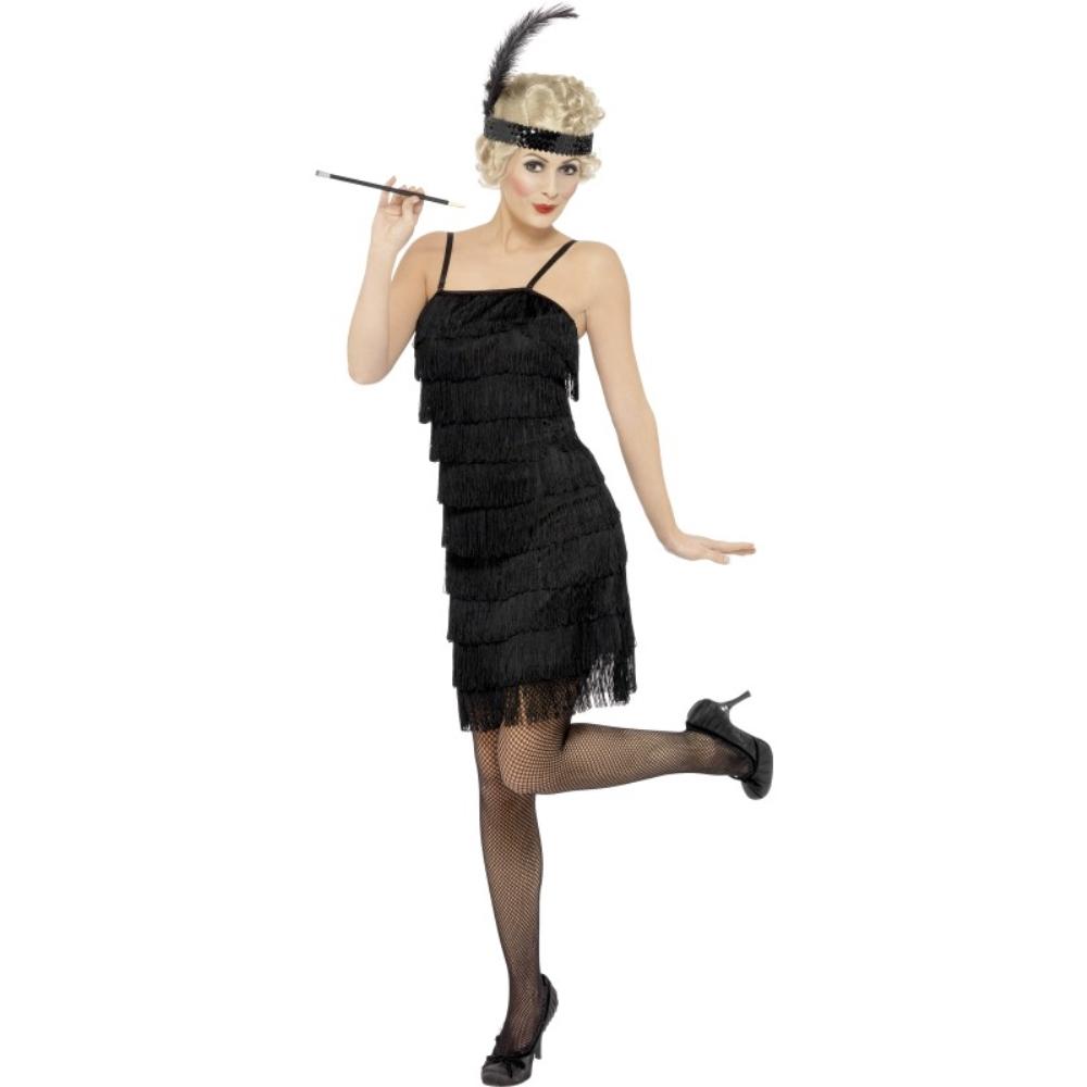 フラッパー 黒 衣装、コスチューム ジャズ 大人女性用 Fringe Flapper