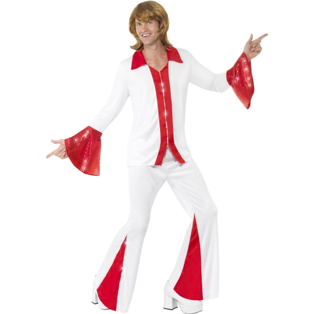 歌手 赤 白 衣装、コスチューム ディスコ 大人男性用 Super Trooper
