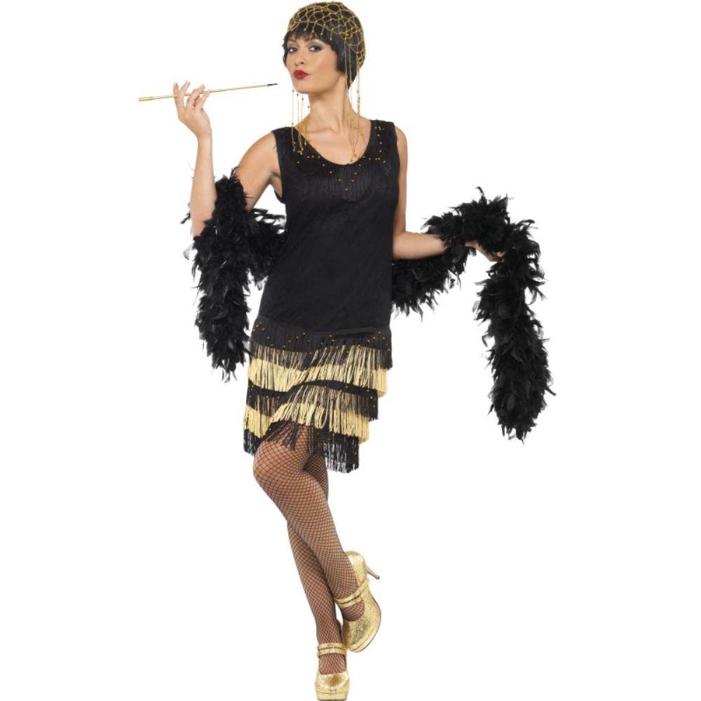 フラッパー 黒 ゴールド 衣装、コスチューム 1920年代 大人女性用 1920's Fringed Flapper