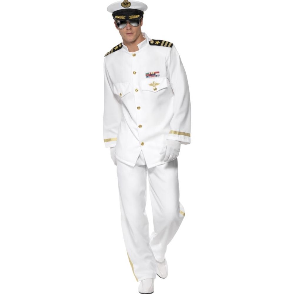 海軍 白 衣装、コスチューム 艦長 紋章 肩章 大人男性用 Captain Deluxe