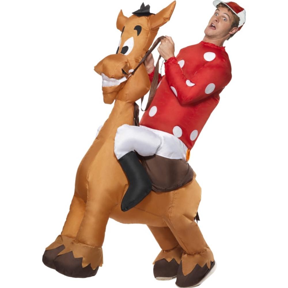 騎手 馬 衣装、コスチューム 大人男性用 Infl atable Jockey and Horse