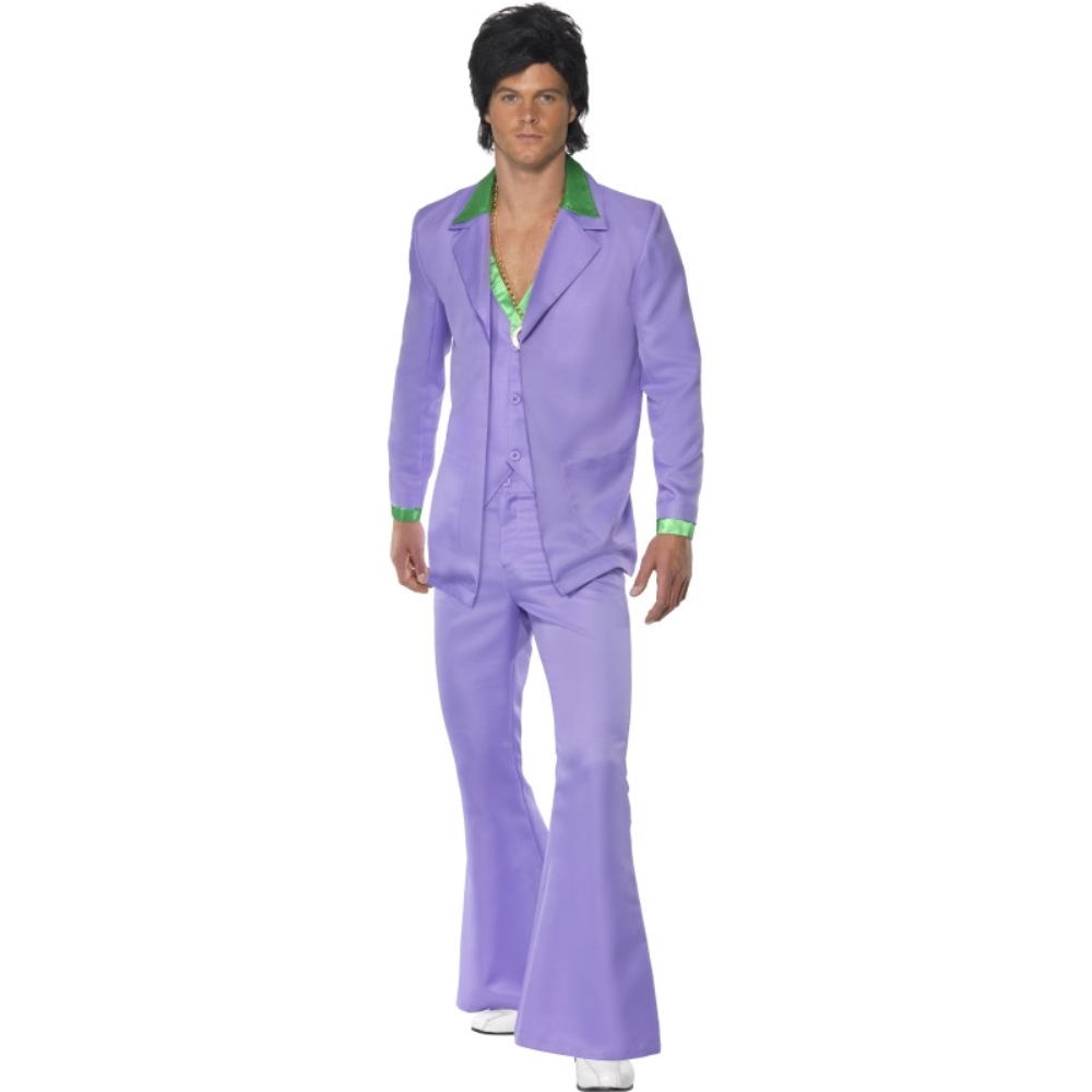 歌手 紫 衣装、コスチューム アーティスト 大人男性用 Lavender 1970's Suit