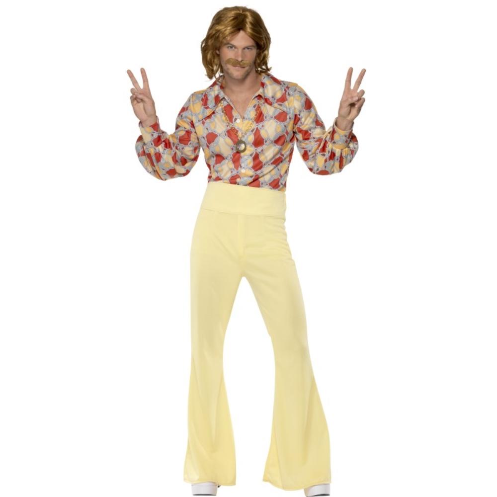 ヒッピー レトロ 黄 衣装、コスチューム 大人男性用 1960's Groovy Guy