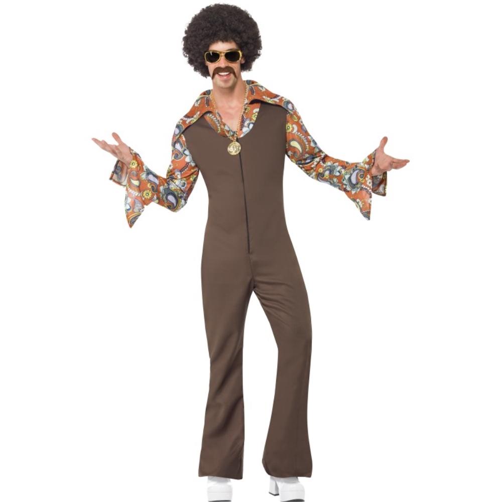 ディスコ 茶 衣装、コスチューム ディスコ 大人男性用 Groovy Boogie