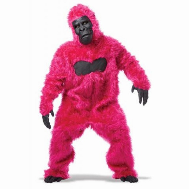 ゴリラ 衣装、コスチューム 大人男性用 着ぐるみ ピンク