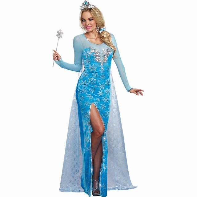 お姫様 衣装、コスチューム 大人女性用 ロングドレス エルサ風 雪の女王