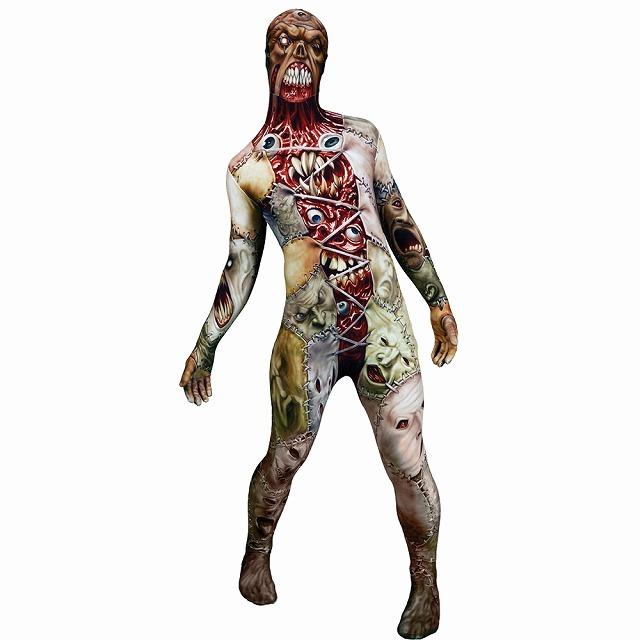ゾンビ 衣装、コスチューム 大人男性用 ホラー 全身タイツ MORPH FACELIFT ADULT