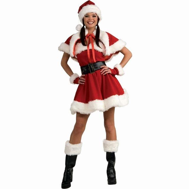 ミス・サンタ 衣装、コスチューム ベルベット 大人女性用