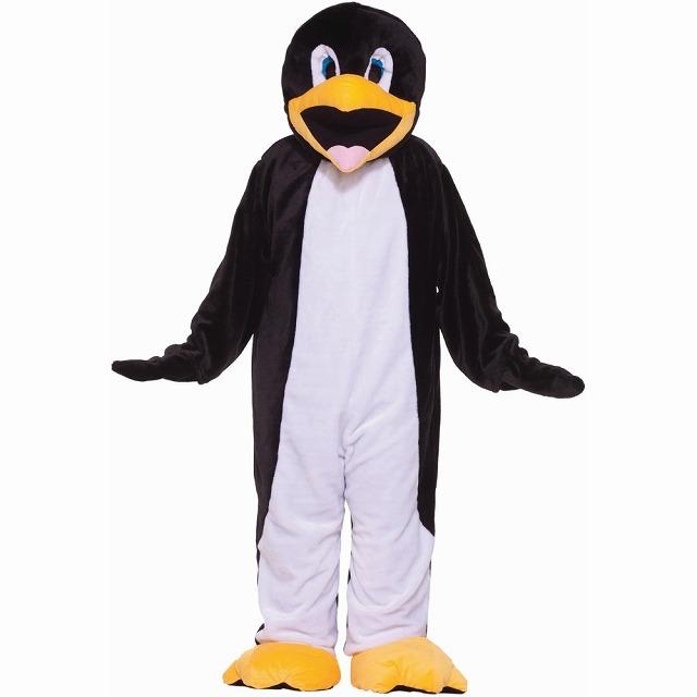 ペンギンのマスコット衣装、コスチューム エコノミー ベロア製 大人男性用
