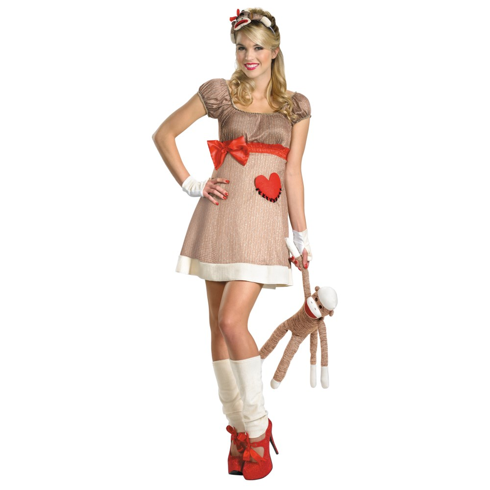 ソックモンキー サル 大人女性用 衣装、コスチューム コスプレ MS. SOCK MONKEY DELUXE
