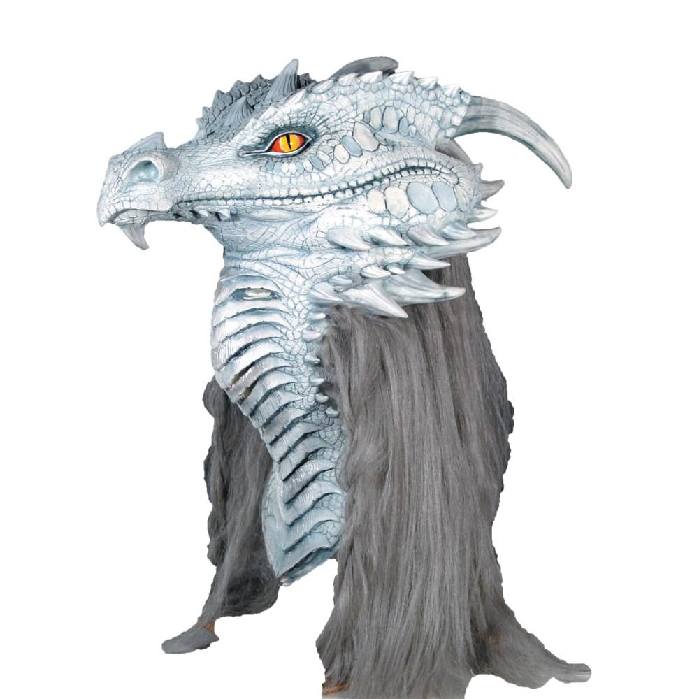 ドラゴン 龍 マスク 大人用 たてがみ付き グレー/シルバー ANCIENT DRAGON PREMIERE MASK