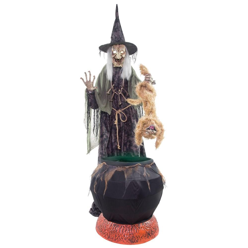 魔女 ハロウィンデコレーション ホラー フォグマシーンつき サウンド 可動