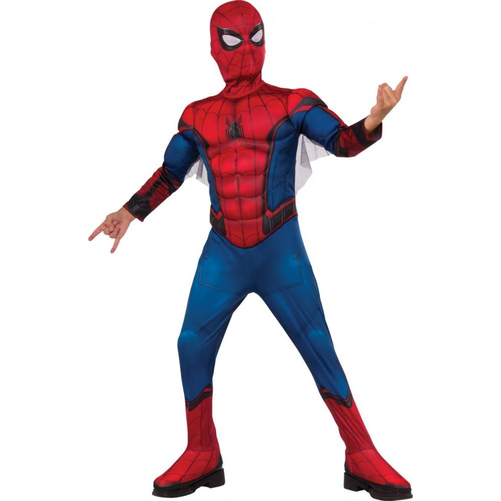スパイダーマン 衣装、コスチューム 大人男性用 デラックス マッスルチェスト ホームカミング Reg. Spiderman コスプレ