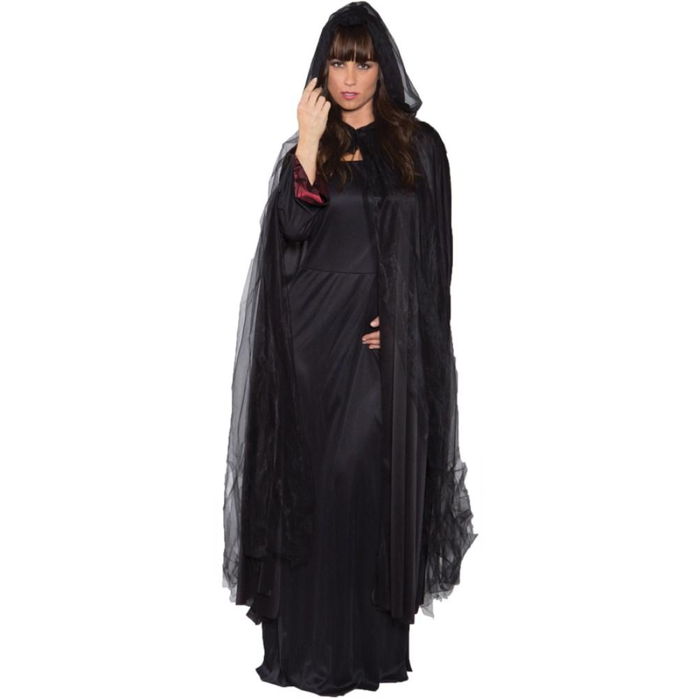 ロングゴーストケープ 衣装、コスチューム 大人女性用 GHOST CAPE FULL BLACK ADULT コスプレ