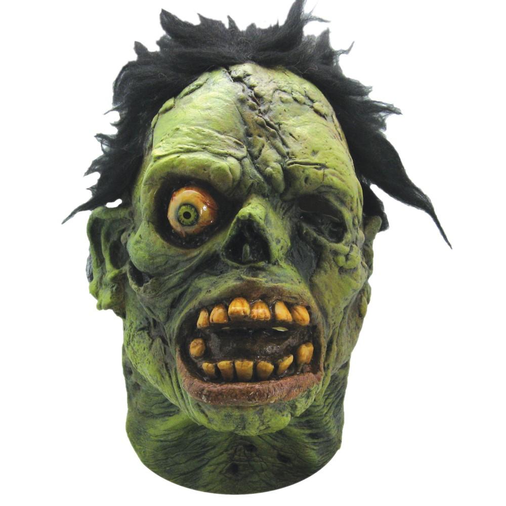 ゾンビ モンスター フルマスク 大人用 グリーン 髪つき