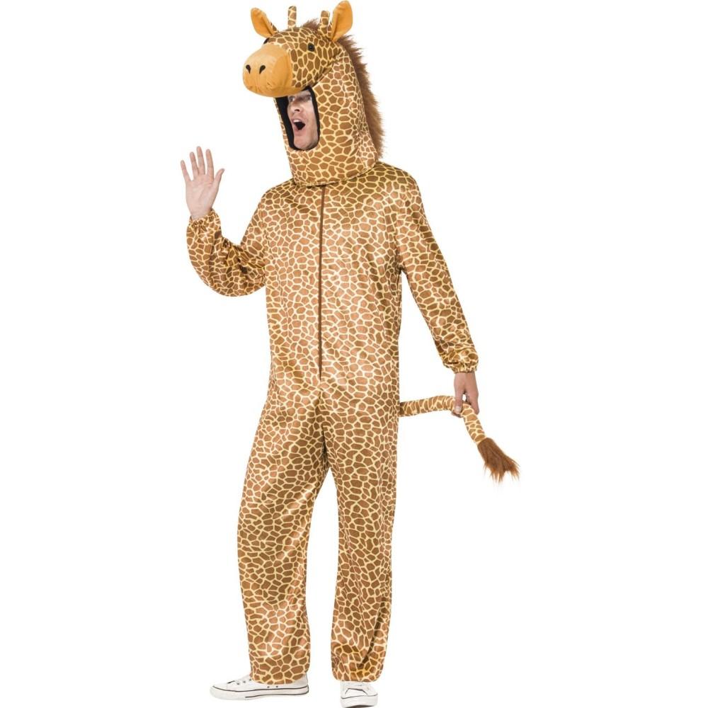 キリン 衣装、コスチューム 着ぐるみ 大人男性用 Giraffe Costume, Orange, with All in One & Hood