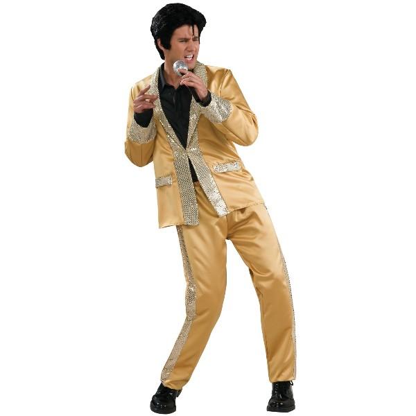 エルヴィス・プレスリー Deluxe ゴールドスーツ 衣装、コスチューム コスプレ 大人男性用