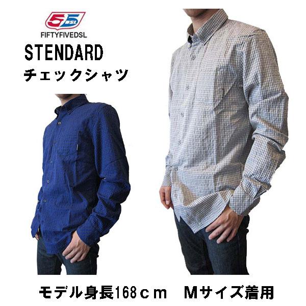 フィフティーファイブディーエスエル 55DSL 長袖 シャツ STENDARD チェックシャツ カジュアルシャツ メンズ 全国送料無料