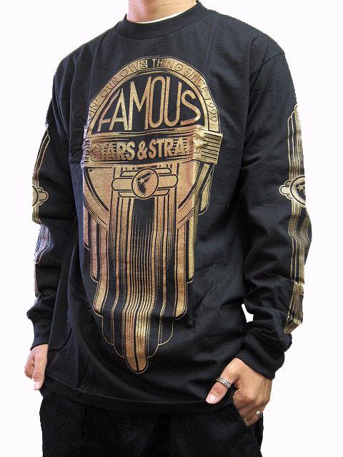 フェイマス スターズ アンド ストラップス Famous Stars & Straps メンズ 長袖Tシャツ Cycles L/S Tシャツ ロングスリーブTシャツ ロンT ブラック 全国送料無料