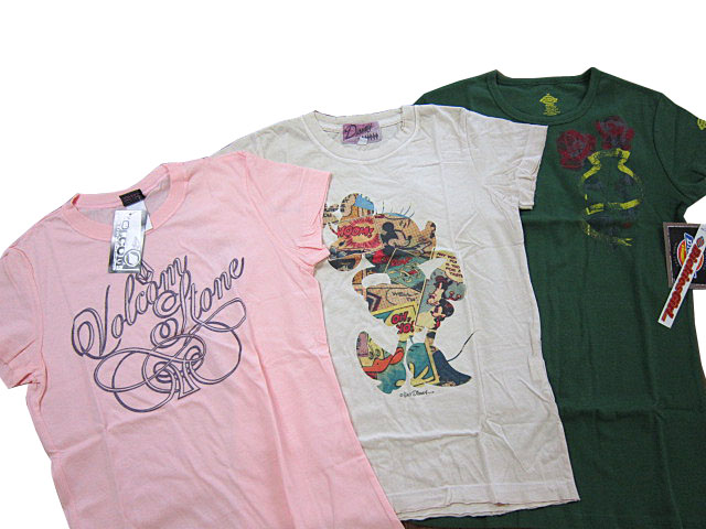 レディース☆ディズニーヴィンテージTシャツが必ず入る有名人気ブランドTシャツ計3枚入ったレディース福袋 ♪