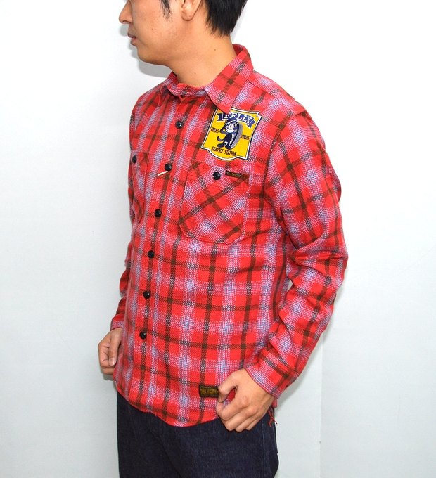 トイズマッコイ TOYS McCOY TMS1612 ネルチェックワークシャツ レッド色