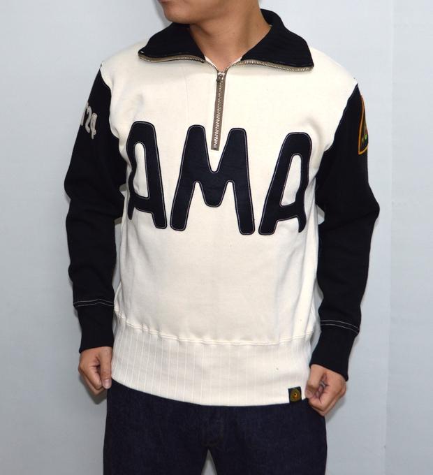 トイズマッコイ TOYS McCOY TMC1674 ハーフジップシャツ オフホワイト×ブラック色 Half zip sweat shirt