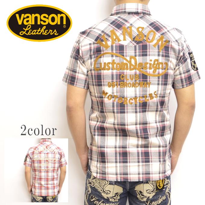 VANSON バンソン NVSS-803 半袖シャツ ブラック色 マドラスチェックシャツ バイカー アメカジ ハーレー 送料無料