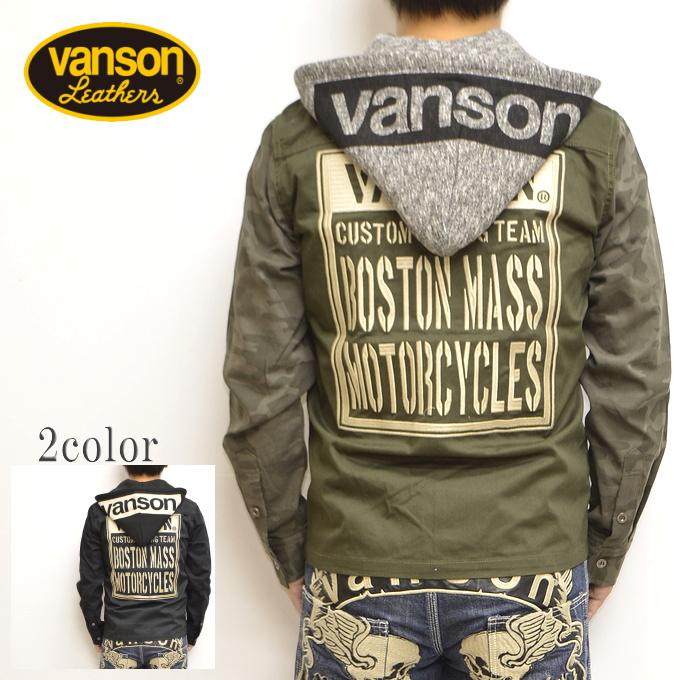 バンソン VANSON NVSL-806 ツイルワークシャツ オリーブ色 長袖 シャツ 脱着フード 送料無料