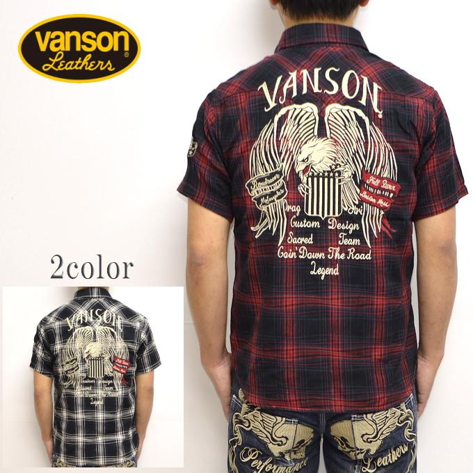 バンソン VANSON NVSS-904 半袖シャツ 酔っ払いチェックシャツ メンズ 送料無料 新作
