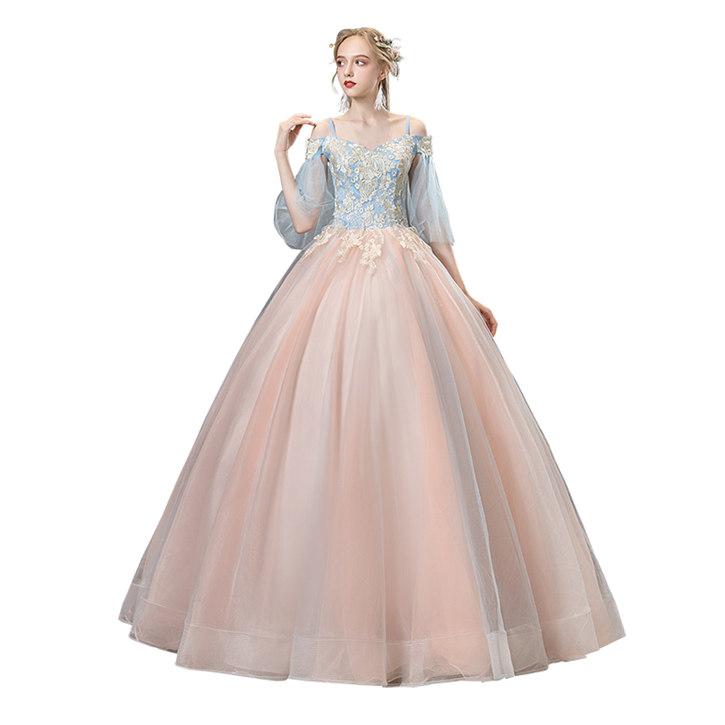 ブル-+ピンク オフショルダー カラードレス 二次会ドレス パーティードレス ウェディングドレス 演出舞台 発表会 演奏会用ドレス ロングドレス プリンセスライン 司会 ステージ衣装・二次会・花嫁衣裳にも♪