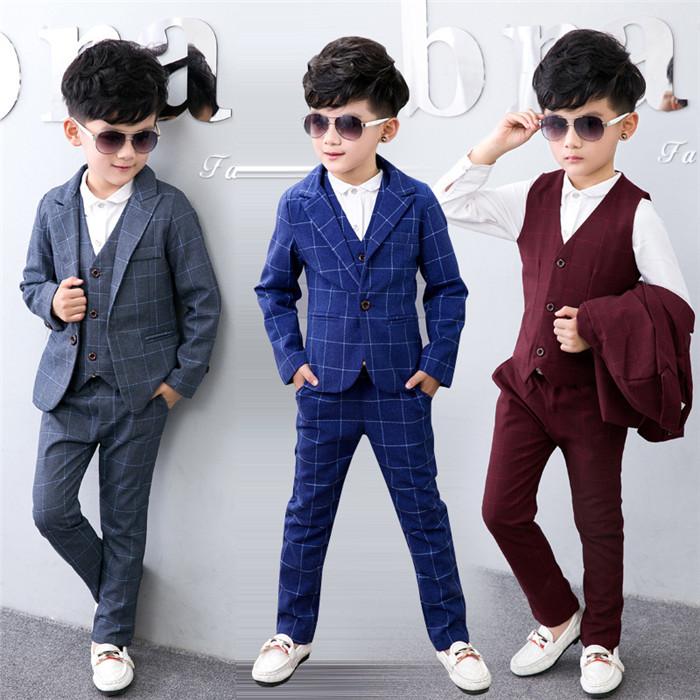 35d14232851ed 子供タキシード グレー チェック柄 90-140CM 子供スーツ キッズ服 男の子衣装 ズボン、