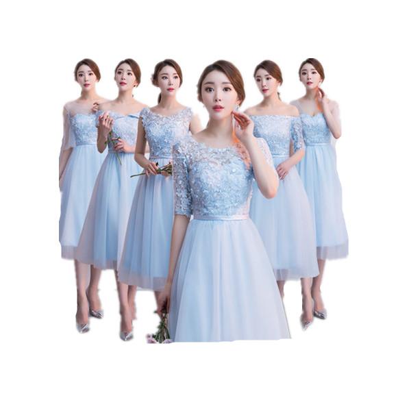 525f2d29e075a パーティードレス ブライズメイド 結婚式 6タイプ ピンク シャンパン ブルー ミディアムドレス ミモレ