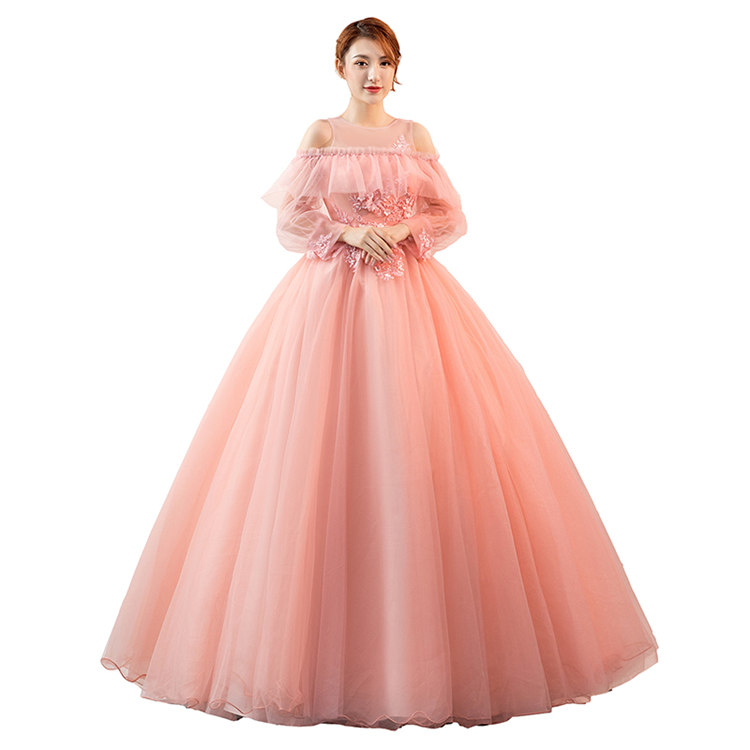 ピンク 長袖 カラードレス 二次会ドレス パーティードレス ウェディングドレス 演出舞台 発表会 演奏会用ドレス ロングドレス プリンセスライン 司会 ステージ衣装・二次会・花嫁衣裳にも♪