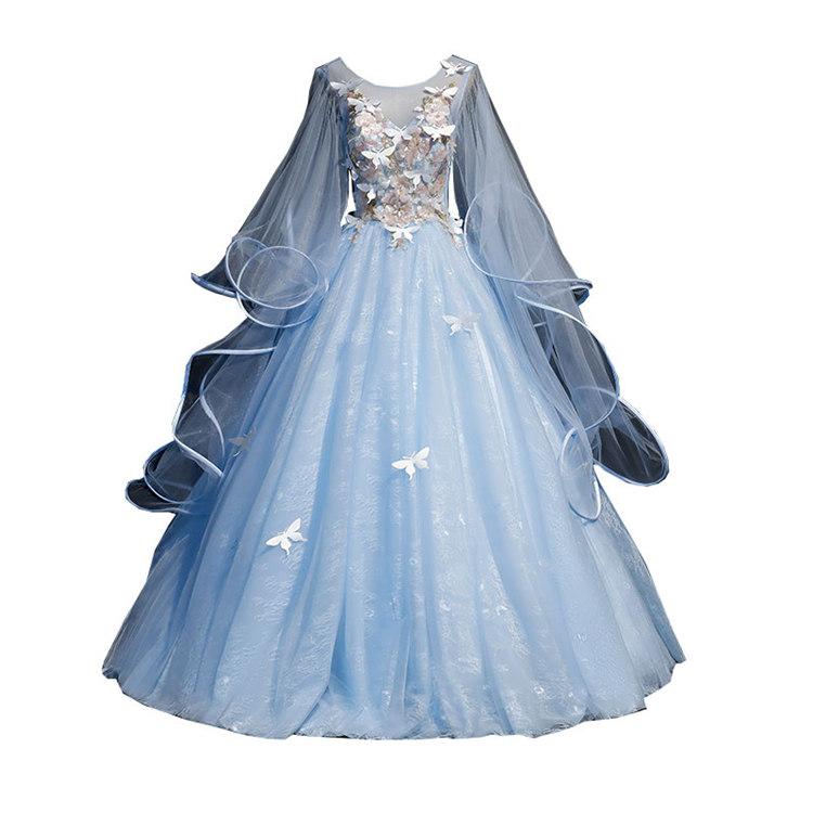 ブルー 長袖 カラードレス 二次会ドレス パーティードレス ウェディングドレス 演出舞台 発表会 演奏会用ドレス ロングドレス プリンセスライン 司会 ステージ衣装・二次会・花嫁衣裳にも♪
