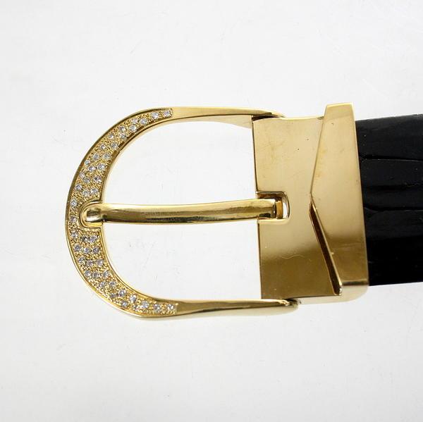 【中古】 18金 ダイヤ 0.75ct バックル 新品クロコダイルベルト付き