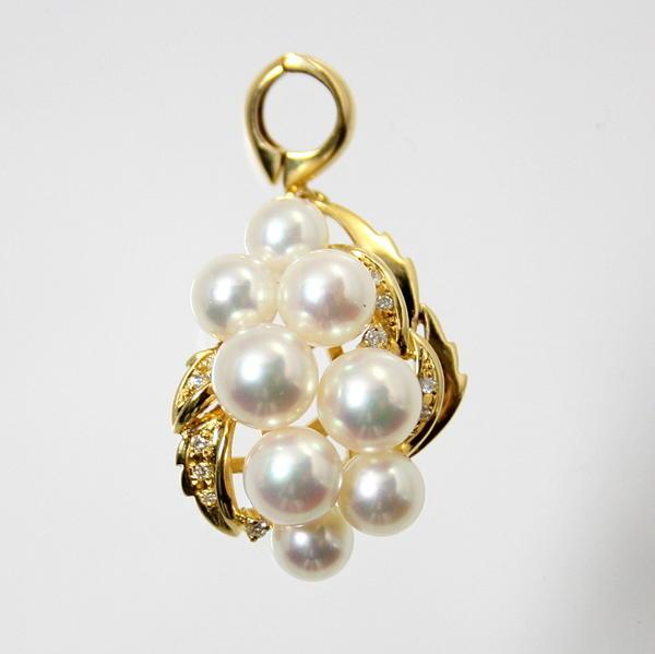 【中古】 18金 アコヤ真珠&ダイヤ ペンダント