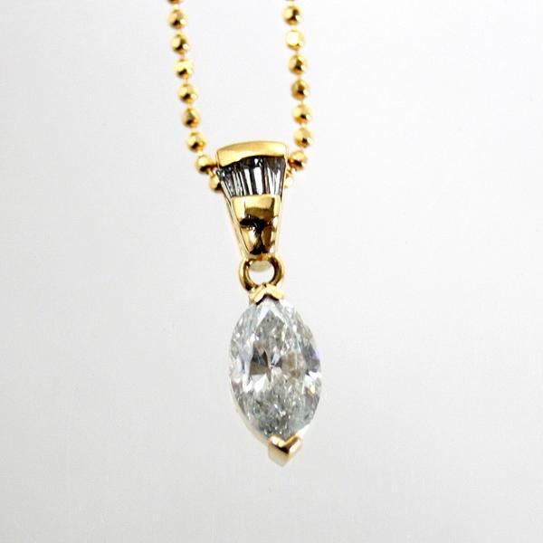 【中古】 18金 マーキスダイヤ 1.08ct ペンダント付ネックレス