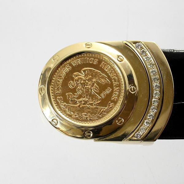 【中古】 18金 メキシココイン ダイヤ 0.71ct バックル 新品クロコダイルベルト付き