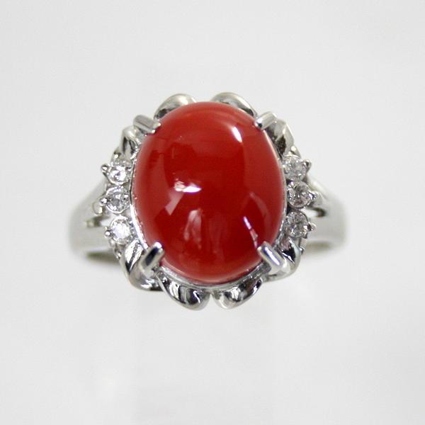 【中古】 プラチナ 紅サンゴ ダイヤ付 リング 10号