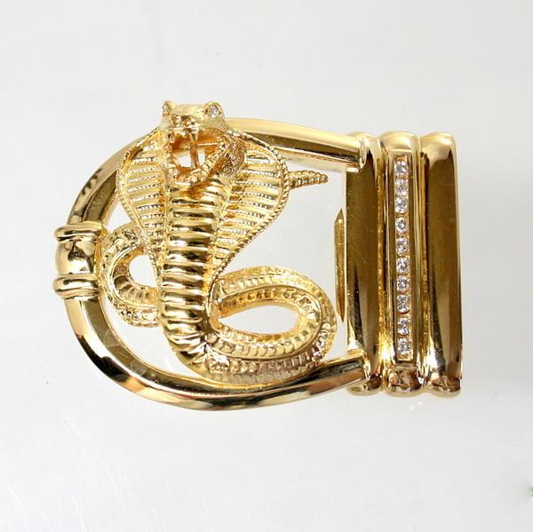 【中古】 18金 ダイヤ 計0.53ct コブラデザイン バックル 新品クロコダイルベルト付き
