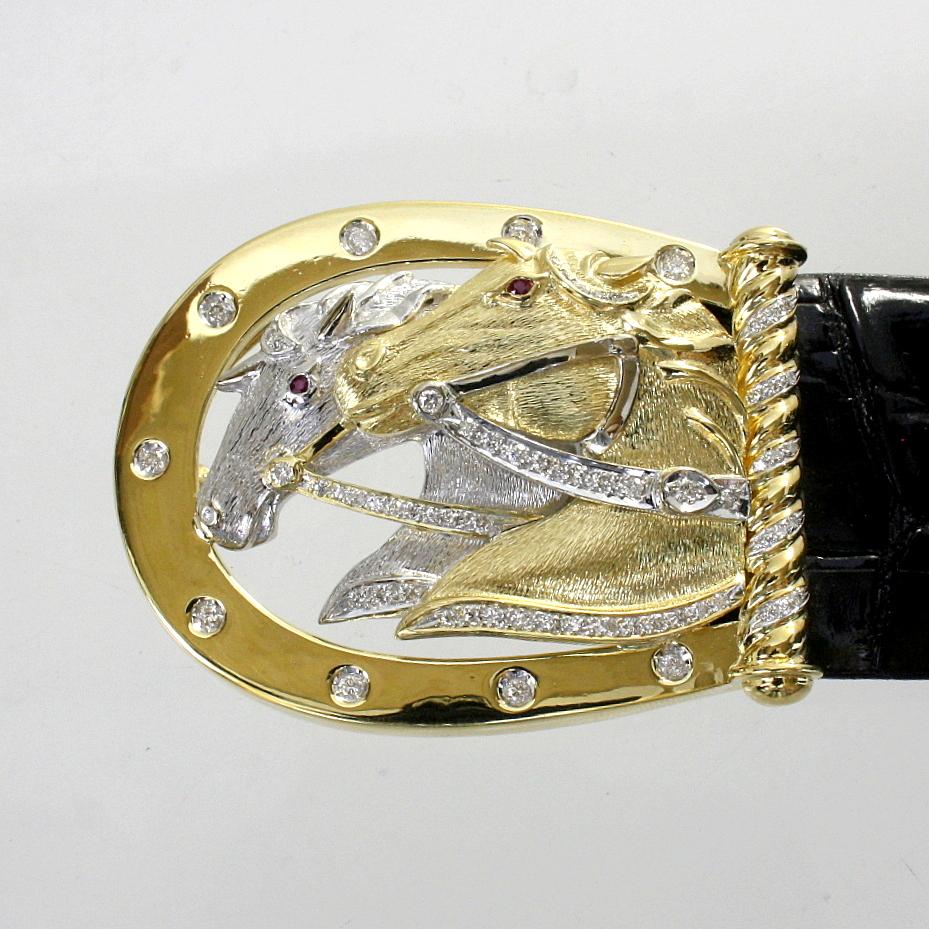 【中古】 18金YG,WG 馬デザイン ダイヤ 1.32ct バックル 新品クロコダイルベルト付き
