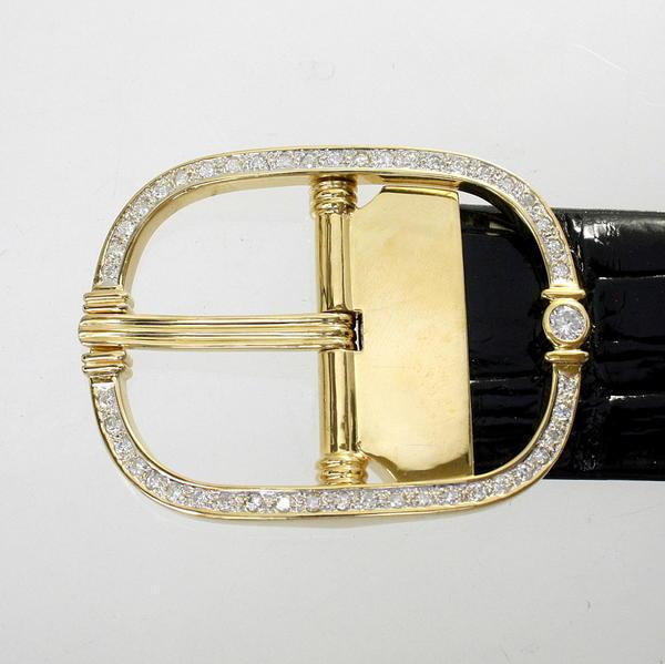 【中古】 18金 ダイヤ 0.37ct 1.47ct バックル 新品クロコダイルベルト付き